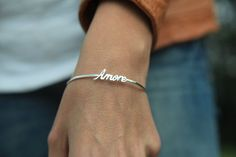 Simple sterling silver Amore bangle