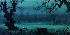 Animation Backgrounds: THE SWORD IN THE STONE: The Wizards Duel Disney Background, Animation Background, Art Background, Background Designs, Gothic Landscape, Gothic Castle, Spooky Trees, Arte Disney, Disney Pixar