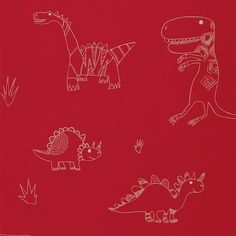 What a hoot wallpaper - Jolly Jurasic.  Red wallpaper with gold dinosaurs.  Super cute for boys room.  Love love love.