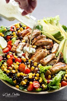Southwestern Chicken Salad With A Low Fat Creamy Dressing | https://cafedelites.com