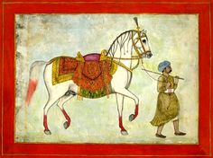 A horse with elaborate saddle and harness being led by a groom. Mughal Dynasty/School. Late 18th cent.
