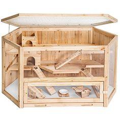 La Casa Natural de Madera para Hámster es un verdadero apartamento para tu mascota. Permite gran libertad de movimiento con sus varios niveles y 3 rampas.