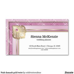 Sold #Pink #damask #gold #twist business card Available in different products. Check more at www.zazzle.com/celebrationideas
