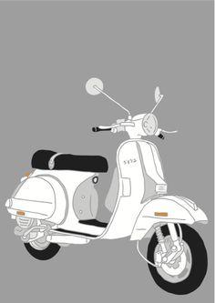 Vespa by Josh Wayles Piaggio Vespa, Lambretta Scooter, Vespa Scooters, Bike Storage Design, Vespa Illustration, Vespa Px 150, Classic Vespa, Retro Scooter, Bike Wheel