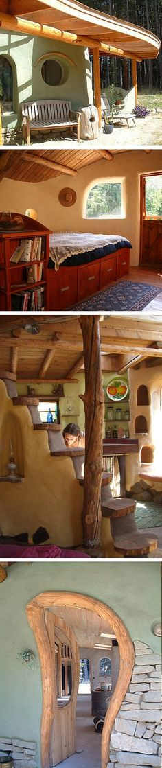 all natural cob houses: clay, dirt, water, sand, straw, and wood