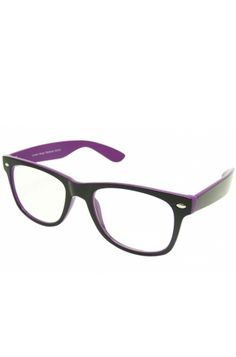 Double Colour Wayfarer Geek Glasses (Purple), also available in yellow, red and white! £4.99    http://www.attitudeclothing.co.uk/product_32505-62-796_Double-Colour-Wayfarer-Geek-Glasses-%28Purple%29.htm
