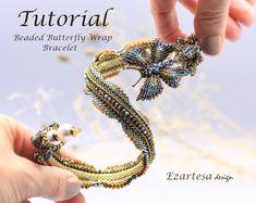 Austeja the Queen of Bees Beaded Bracelet Tutorial Beading | Etsy Wrap Bracelet Tutorial, Beaded Bracelets Tutorial, Beaded Bracelet Patterns, Beaded Wrap Bracelets, Earring Tutorial, Tassel Bracelet, Beading Patterns, Beaded Jewelry, Flower Bracelet