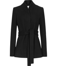 Womens Black Shawl-neck Wrap Coat - Reiss Sami