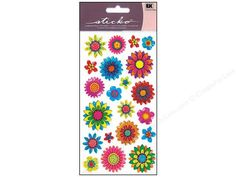 EK Sticko Stickers are acid free and photo safe. Great for collecting, invitations, stationery, gift wrapping, parties, scrapbooking and much more!  Sparkler Summer Floral Mix. 21 stickers that include designs of multicolored glitter flowers with an epoxy finish. Colors include Yellow, Aqua, Fuchsia, Red, Orange, Blue, Purple, Green and Black.