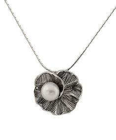Love this White Pearl & Sterling Silver Lily Pad Pendant Necklace on…