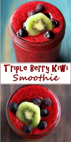 Triple Berry Kiwi Smoothie Vegetable Smoothie Recipes, Protein Smoothie Recipes, Juicer Recipes, Green Smoothie Recipes, Juice Recipes For Kids, Smoothie Recipes For Kids, Breakfast Smoothie Recipes, Healthy Recipes, Healthy Foods
