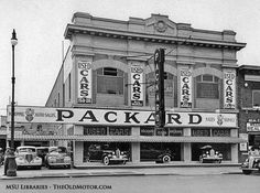 Koeppel Auto Sales, a Packard Dealer - note the new cars coming out of the showroom's front windows onto the sidewalk. Vintage Cars, Antique Cars, Vintage Auto, Vintage Stores, Used Car Lots, Michigan, Best Family Cars, Mid Size Car, Detroit History