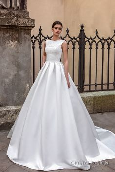 CRYSTAL DESIGN bridal 2016 sleeveless boat neckline embroidered bodice elegant a line ball gown wedding dress lace illusion back royal train (ninelli) mv #bridal #wedding #weddingdress #weddinggown #bridalgown #dreamgown #dreamdress #engaged #inspiration #bridalinspiration #weddinginspiration #weddingdresses #ballgown #romantic
