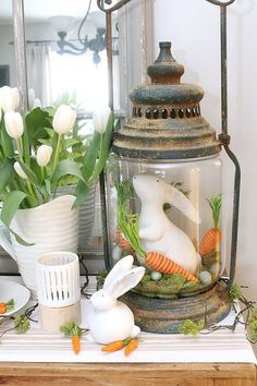Easter Vignette with white bunnies, carrots, tulips and lantern / Free Easter printable
