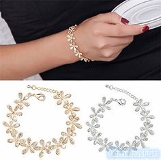 cool Korean Fashion Women Elegant Crystal Rhinestone Snowflake Flower Chain Bracelet - For Sale View more at http://shipperscentral.com/wp/product/korean-fashion-women-elegant-crystal-rhinestone-snowflake-flower-chain-bracelet-for-sale/