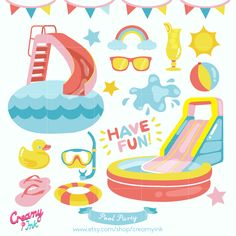 The pool party digital clip art are perfect for summer party, pool party invitations, scrapbooking and many more. #clipart #vector #design See more at creamyink.etsy.com