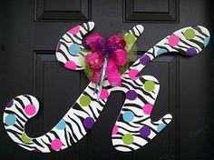 wooden letter K - zebra stripes and dots door hanger by RKDragonfly...