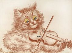 The Violinist | red chalk drawing | Louis Wain