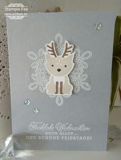 stampin foxy friends reindeer Christmas Card Weihnachten weihnachtskarte rentier Rudolph rudolf snow greetings from santa grüße vom Weihnachtsmann flurry of  wishes flockenzauber