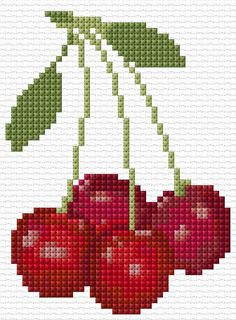 Cross Stitch | Cherries xstitch Chart | Design. OK, this is my favorite design of all - cherries!! They look yummy!