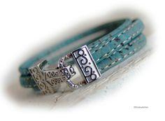 Womens cork leather bracelet women light petrol blue silver