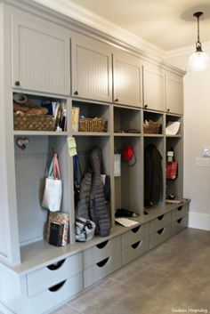 Modern farmhouse mudroom with grey wood built ins with storage Mudroom Laundry Room, Mud Room Lockers, Mudroom Cubbies, Mud Room In Garage, Mudroom Storage Ideas, Garage Storage, Garage Doors, Garage Mudrooms, Cloakroom Storage
