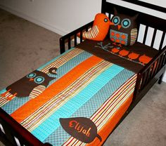 The Drake Owl Bedding Set Crib Quilt that fits by toddlerswaddler, $78.00