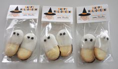Pepperidge Farms Milano cookies take a dip in white chocolate to become ghosts.