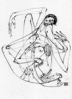 Ink Drawing Marina González Eme, Black Ink series, Ink on paper, 21 x 29 cm, images posted with permission of the artist. Tatoo Angel, Art Sketches, Art Drawings, Arte Peculiar, Creepy Art, Psychedelic Art, Dark Art, Art Inspo, Painting & Drawing