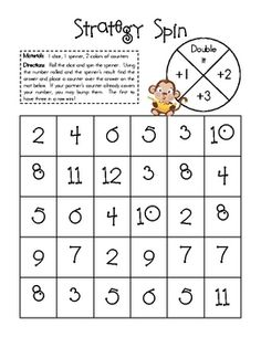 Here's an addition game where students practice the following facts: +1, +2, +3, and doubles.
