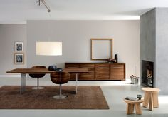 Credenza Furniture Dining Room Scandinavian with Area Rug Drum Chandelier Fireplace Surround Minimal Modern Fireplace Modern Light Fixture