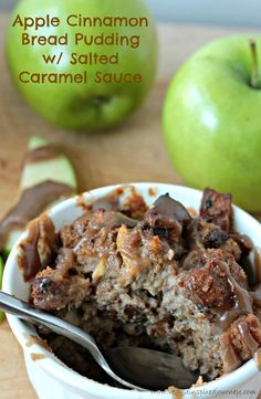 Apple Cinnamon Bread Pudding with Salted Caramel Sauce - apples, cinnamon, maple all nestled together all warm and cozy in perfect individual servings then drizzled with the creamy, sweet, slightly salty caramel sauce.