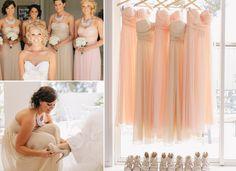 Pretty Pastel Peach Strapless Chiffon Bridesmaid Dresses