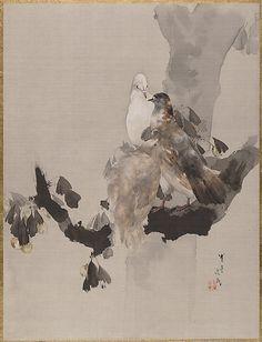 Pigeons in a Tree Watanabe Seitei (Japanese, 1851–1918) Period: Meiji period (1868–1912) Culture: Japan Medium: Album leaf; ink and color on silk Dimensions: 14 1/8 x 10 3/4 in. (35.9 x 27.3 cm) Classification: Painting