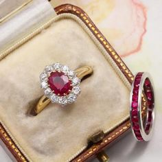 Victorian cluster perfection ❣️An unheated Burma oval shape ruby surrounded by 12 shining old mine cut diamonds circa Simple Diamond Ring, Gold Diamond Rings, Silver Ring, Tiny Stud Earrings, Simple Earrings, Silver Earrings, Diamond Earrings, Burma, Vintage Rose Gold