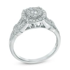 1/2 CT. T.W. Diamond Double Frame Engagement Ring in 10K White Gold | Engagement Rings | Wedding | Zales