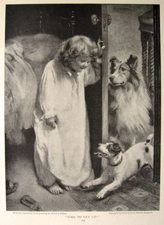 1910 Arthur Elsley Child & Collie ~ Print & Children's Story, Antique Prints for Children
