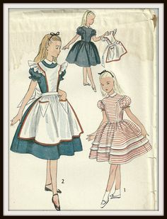 Vintage Simplicity Pattern 3701 Girls Alice In Wonderland Dress and Pinafore, Size 8 on Etsy, $9.07 AUD