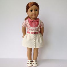 School Blouse and Denim Skirt for the American Girl or Other 18 Inch Doll