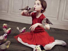 Baby Dior vintage children's clothing little girl in re dress