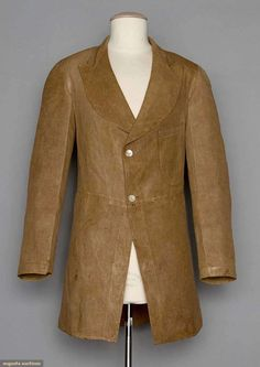 """Linen Frock Coat, 1860s-70s; Brown, single patch pocket on left breast, rounded notched collar, 2 button closure, horizontal waist seam, back vent w/ 2 hidden pockets inside, mother of pearl buttons, Ch 34"""", L 31"""", (uneven color, large water stains on right skirt panel) very good; t/w 1 pair c. 1900 white cotton & blue pinstripe trousers, excellent."""