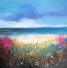 Sandbanks by artist Laure Bury 70 x 70 cm oil on canvas www.laurebury.com
