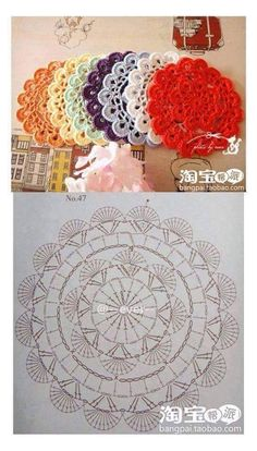 Crochet coasters diagram ganchillo 54 ideas for 2019 Crochet Coaster Pattern, Crochet Mandala Pattern, Crochet Circles, Crochet Flower Patterns, Crochet Diagram, Crochet Round, Crochet Chart, Crochet Squares, Thread Crochet
