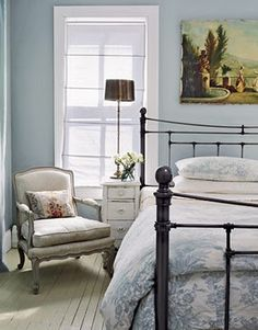 "Victorian Home Designer Carrie Raphael - Swedish Style Maryland Farmhouse - Country Living Master Bedroom The master bedroom, says Carrie, ""makes me feel calm. French Country Bedrooms, French Country House, Country Living, Country Blue, French Cottage, Cottage Living, Cottage Chic, Swedish Bedroom, Country Cottage Bedroom"
