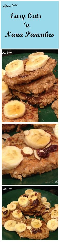 Easy Oats 'n Nana Pancakes | Only 75 Calories | 5 Simple Ingredients | For MORE RECIPES please SIGN UP for our FREE NEWSLETTER www.NutritionTwins.com | #EBeggs #client