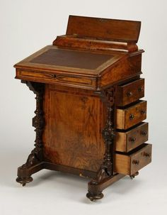 century English burlwood ship captain's desk with inset leather top surmounted by a lidded compartment to hold pens, the top lifting to reveal added storage, with four drawers on the side, x x Victorian Furniture, Furniture Projects, Antique Furniture, Furniture Decor, Furniture Design, Luxury Furniture, Furniture Stores, Rustic Furniture, Style Rustique