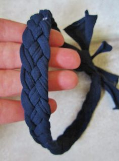 Quick and easy DIY no sew braided headband using an old pair of kids' tights.