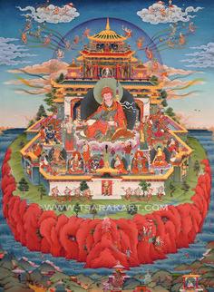 Guru Rinpoche in Zangdog Palri (Glorious Copper-colored Mountain - Pure Land of Guru Rinpoche)