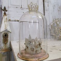 Large glass dome distressed pink and gold base by AnitaSperoDesign