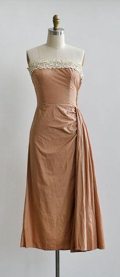 vintage 1950s peach hip drape strapless dress